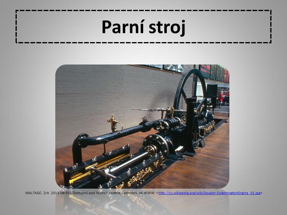 Parní stroj MALTAGC. [cit. 2011-08-01]. Dostupný pod licencí Creative Commons na WWW: <http://cs.wikipedia.org/wiki/Soubor:SwanningtonEngine_01.jpg>